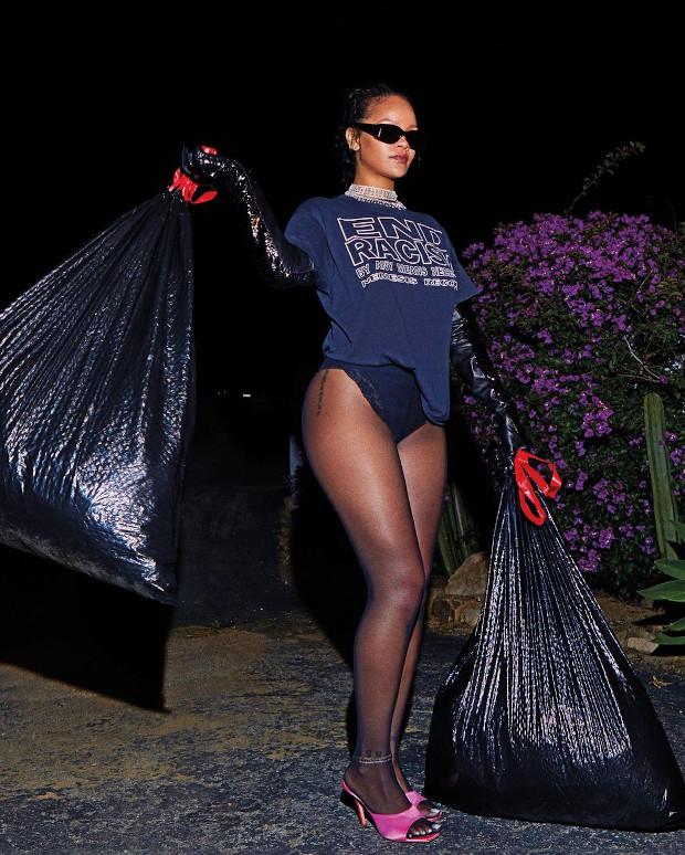 Дерзкая! Рианна вынесла мусор в кружевных трусах